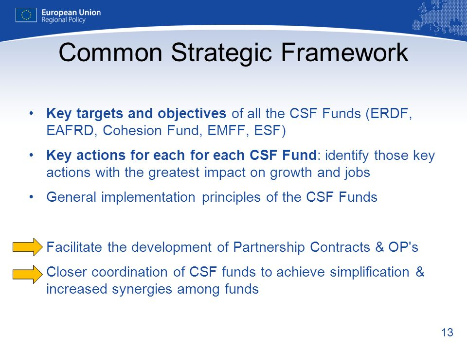 13 Common Strategic Framework Key targets and objectives of all the CSF Funds (ERDF, EAFRD, Cohesion Fund, EMFF, ESF) Key actions for each for each CS