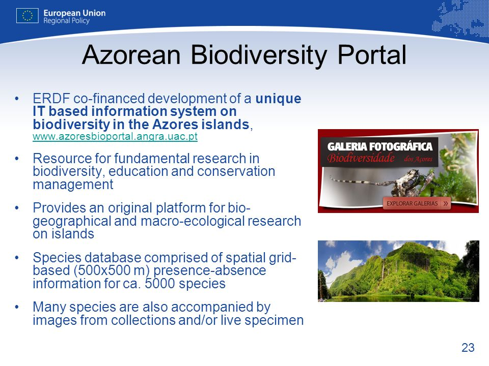 23 Azorean Biodiversity Portal ERDF co-financed development of a unique IT based information system on biodiversity in the Azores islands, www.azoresb