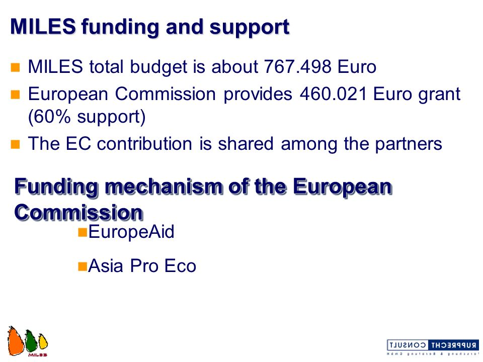 MILES funding and support MILES total budget is about 767.498 Euro European Commission provides 460.021 Euro grant (60% support) The EC contribution i