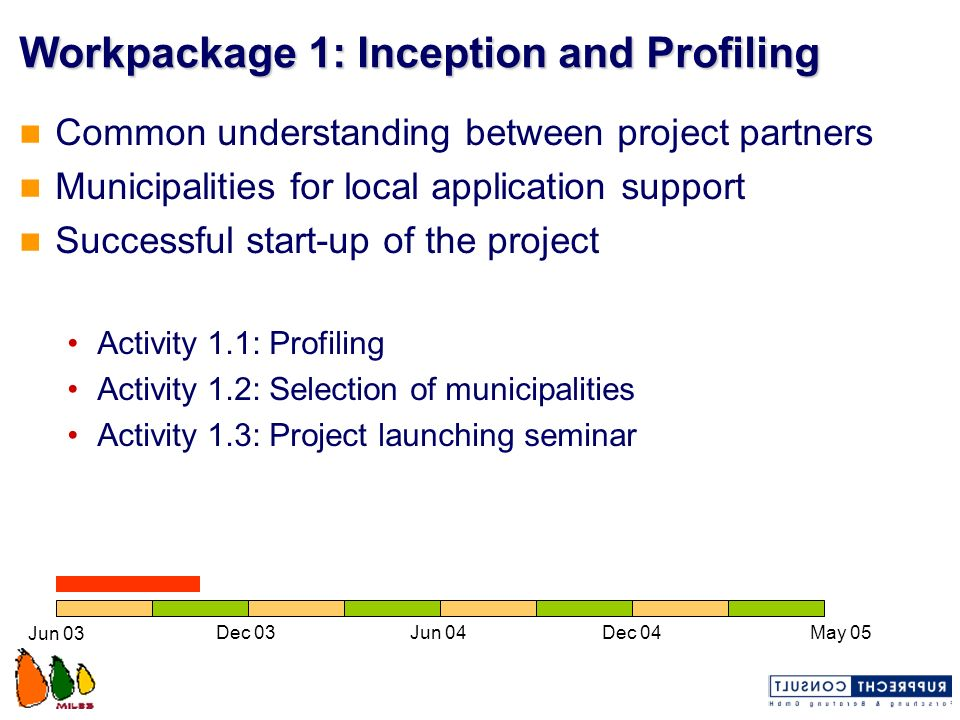 Workpackage 1: Inception and Profiling Common understanding between project partners Municipalities for local application support Successful start-up