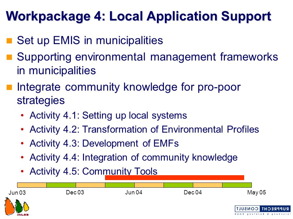 Workpackage 4: Local Application Support Set up EMIS in municipalities Supporting environmental management frameworks in municipalities Integrate comm