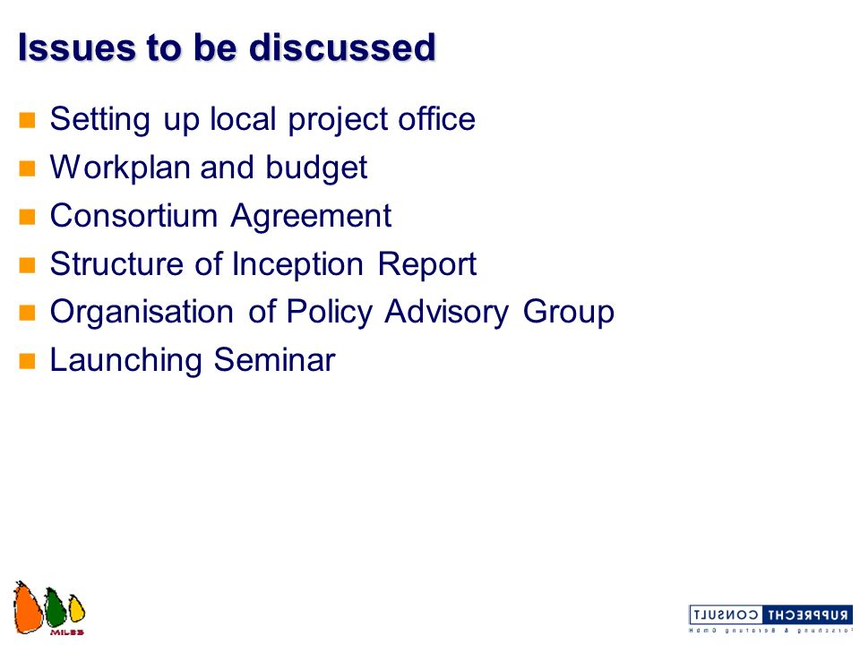 Issues to be discussed Setting up local project office Workplan and budget Consortium Agreement Structure of Inception Report Organisation of Policy A