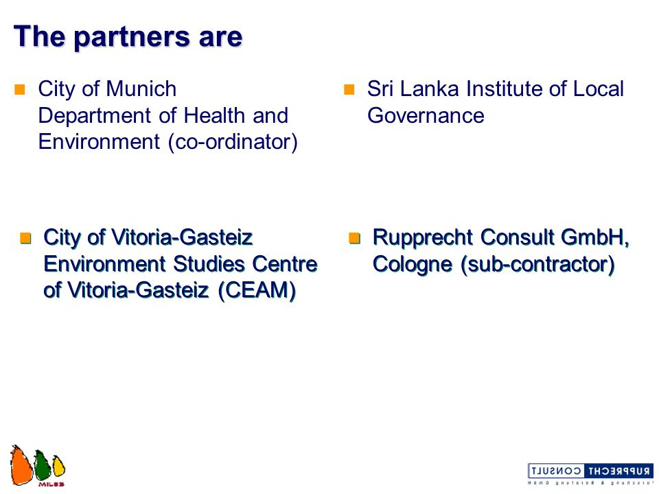 Management structure European Commission Project Management Committee Policy Advisory Group Project Co-ordinator Munich WP2WP5WP7 WP4WP3WP1 Local Co-ordinator SLILG Local Co-ordinator Vitoria-Gasteiz WP6 Local Steering Committee Rupprecht Consult Municipalities