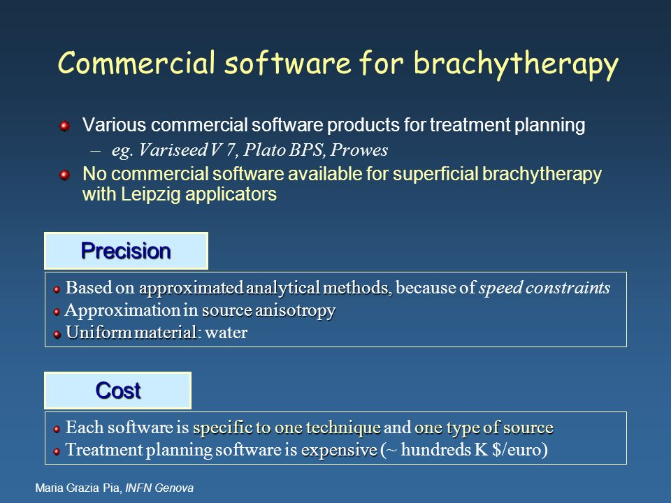 Maria Grazia Pia, INFN Genova Commercial software for brachytherapy Various commercial software products for treatment planning –eg. Variseed V 7, Pla