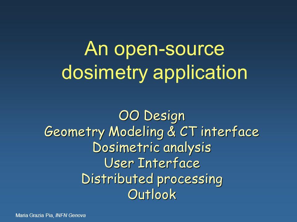 Maria Grazia Pia, INFN Genova An open-source dosimetry application OO Design Geometry Modeling & CT interface Dosimetric analysis User Interface Distr