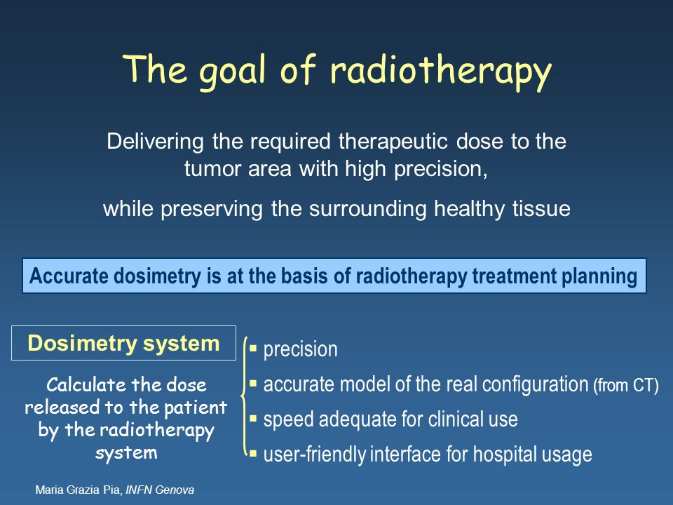 The goal of radiotherapy Delivering the required therapeutic dose to the tumor area with high precision, while preserving the surrounding healthy tiss