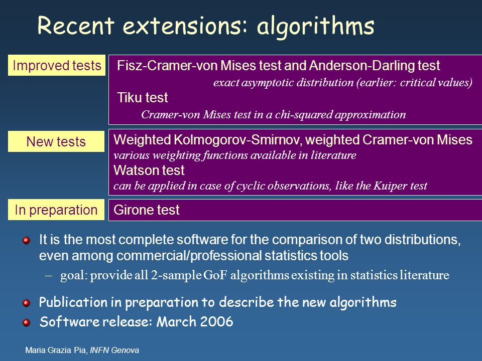 Maria Grazia Pia, INFN Genova Recent extensions: algorithms It is the most complete software for the comparison of two distributions, even among comme