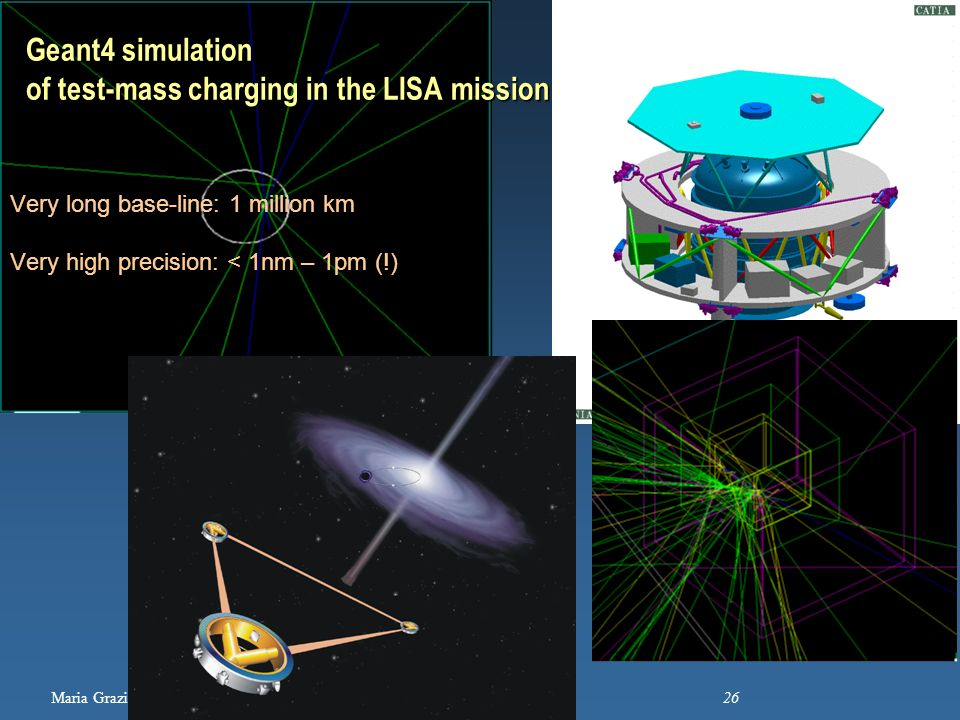 Maria Grazia Pia, INFN Genova 26 Geant4 simulation of test-mass charging in the LISA mission Very long base-line: 1 million km Very high precision: <