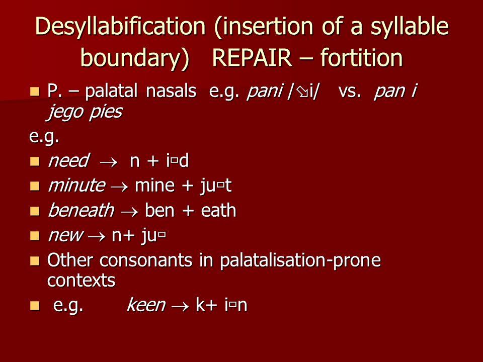 Desyllabification (insertion of a syllable boundary) REPAIR – fortition P. – palatal nasals e.g. pani / i/ vs. pan i jego pies P. – palatal nasals e.g