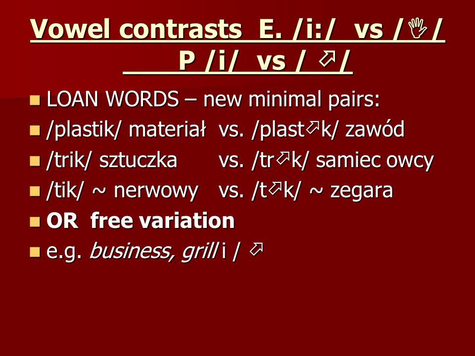 Vowel contrasts E. /i:/ vs / / P /i/ vs / / LOAN WORDS – new minimal pairs: LOAN WORDS – new minimal pairs: /plastik/ materiał vs. /plast k/ zawód /pl