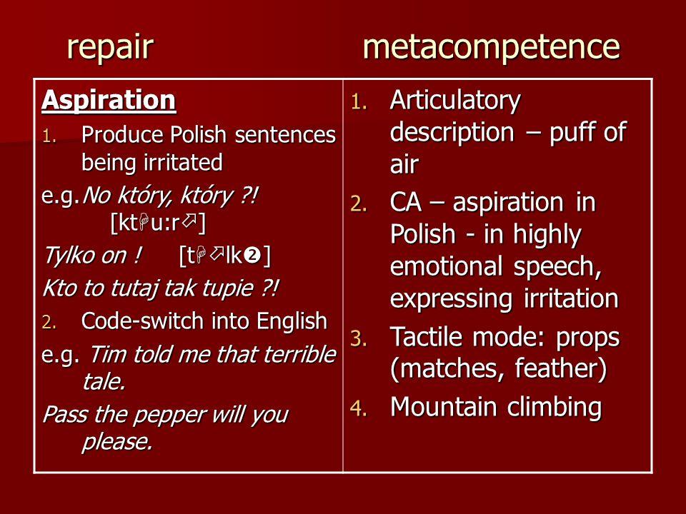 repair metacompetence Aspiration 1. Produce Polish sentences being irritated e.g.No który, który ?! [kt u:r ] Tylko on ![t lk ] Kto to tutaj tak tupie