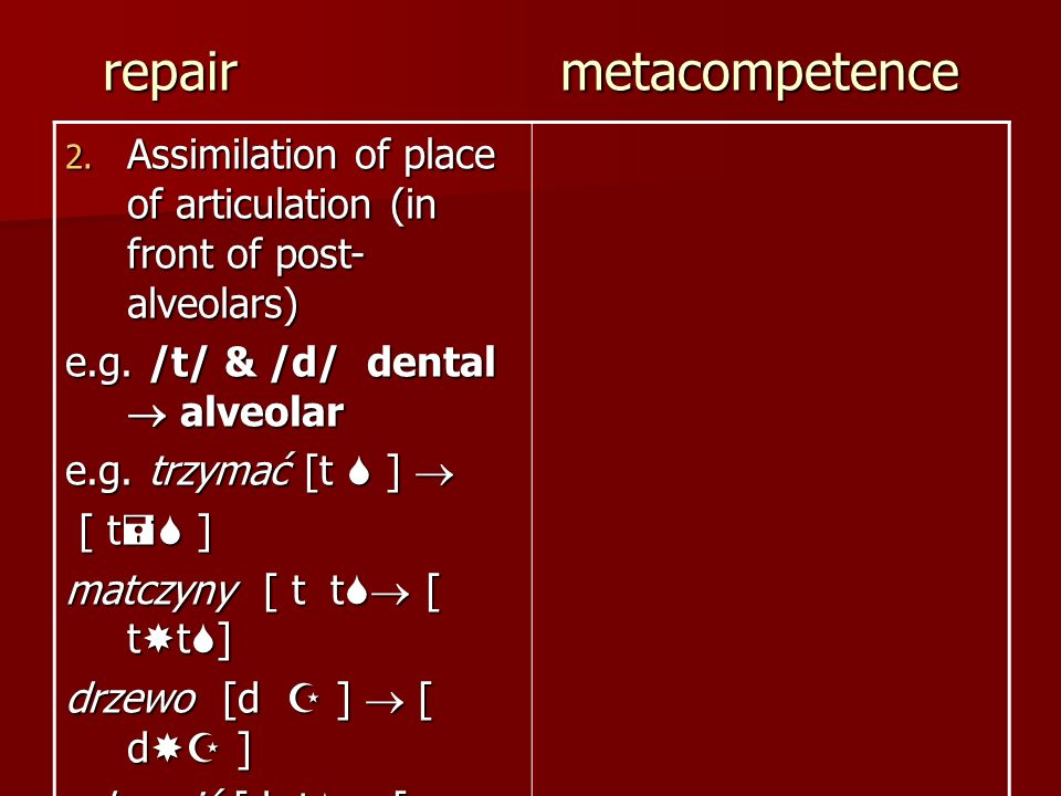 repair metacompetence 2. Assimilation of place of articulation (in front of post- alveolars) e.g. /t/ & /d/ dental alveolar e.g. trzymać [t ] e.g. trz