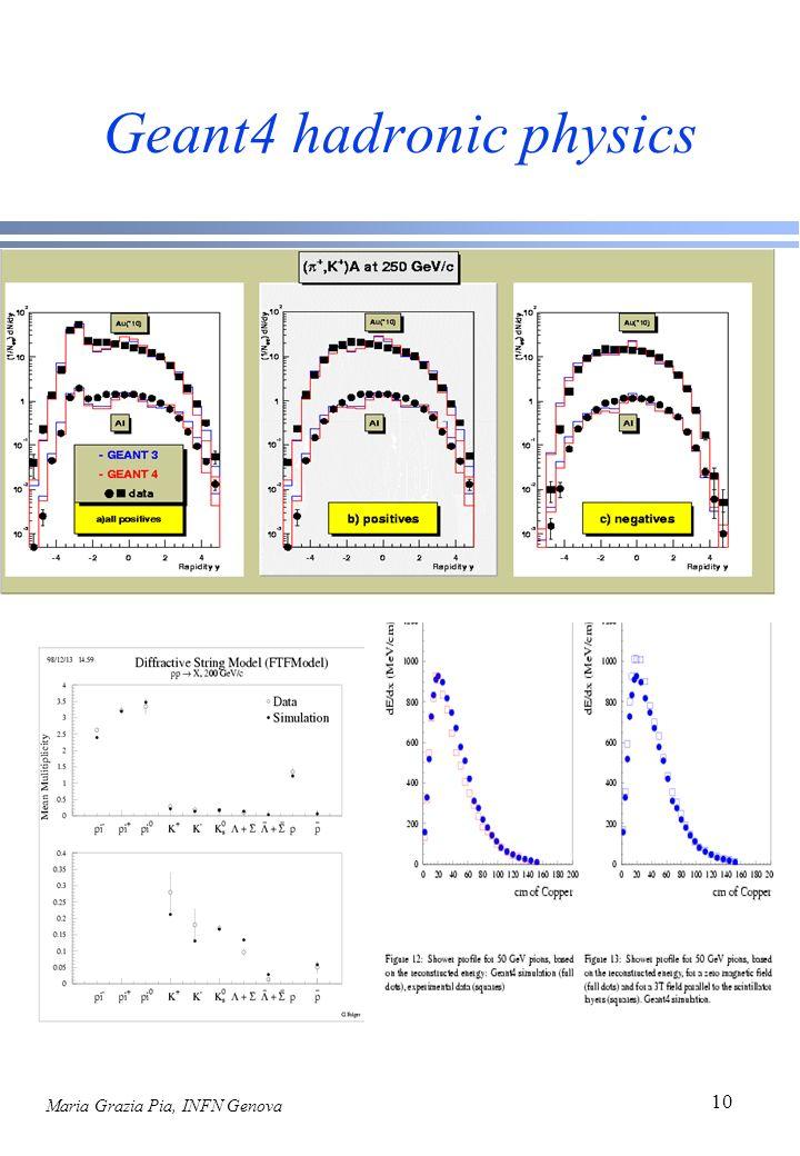 Maria Grazia Pia, INFN Genova 10 Geant4 hadronic physics