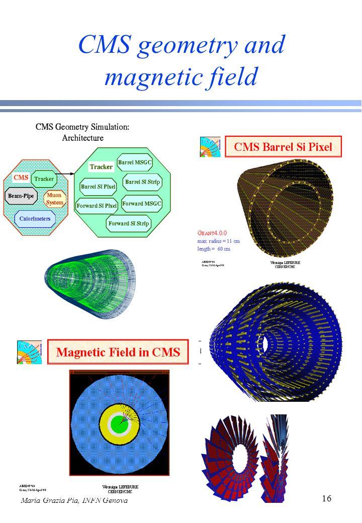 Maria Grazia Pia, INFN Genova 16 CMS geometry and magnetic field