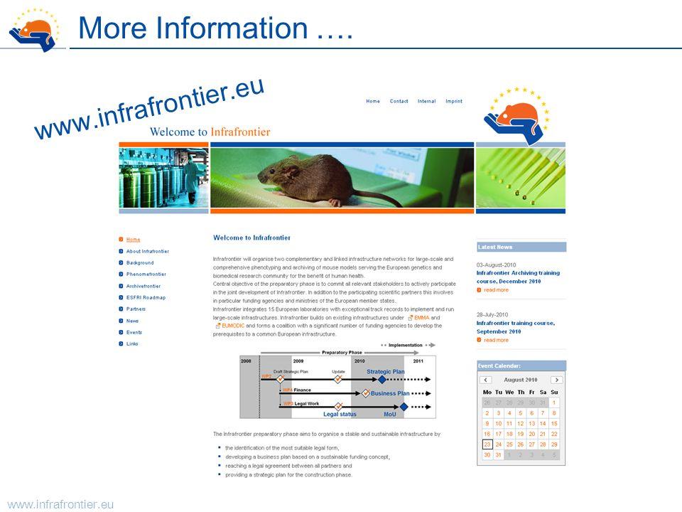 www.infrafrontier.eu More Information …. www.infrafrontier.eu