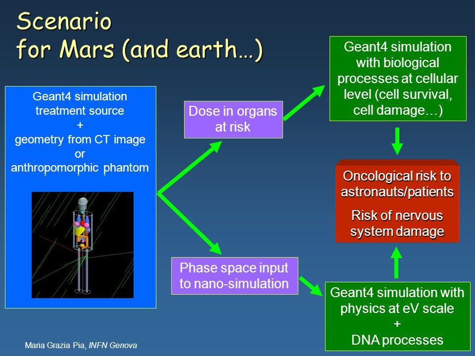 Maria Grazia Pia, INFN Genova Scenario for Mars (and earth…) Geant4 simulation space environment + spacecraft, shielding etc. + anthropomorphic phanto