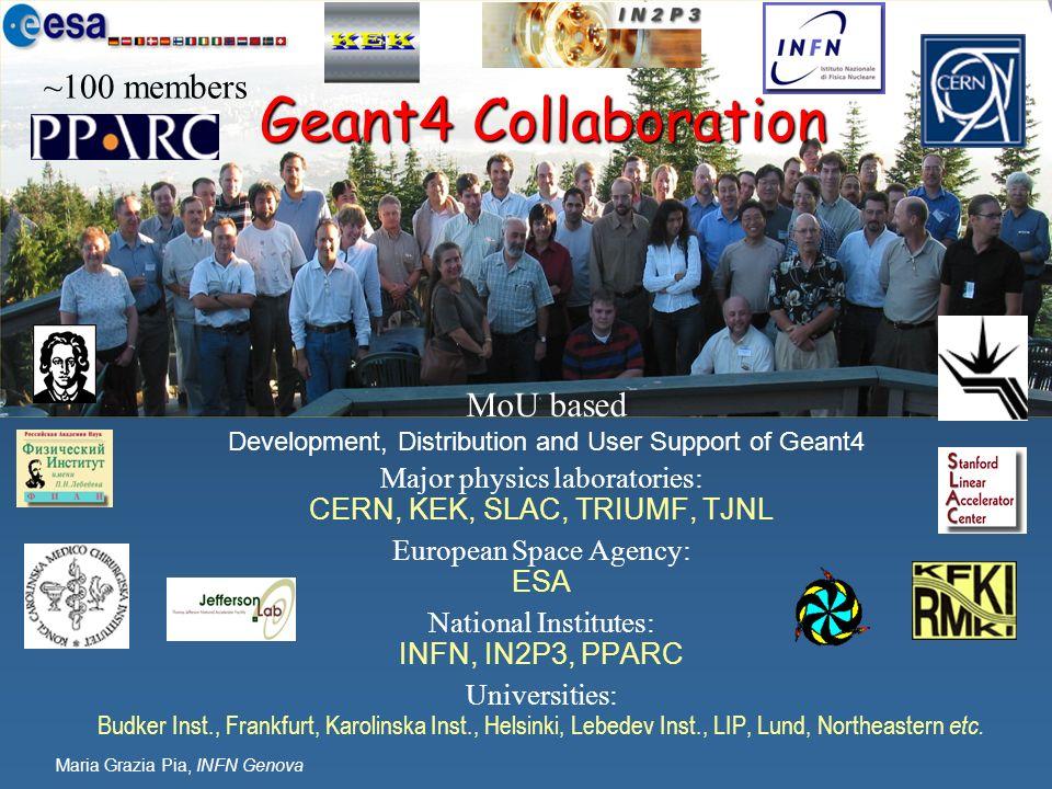 Maria Grazia Pia, INFN Genova Geant4 Collaboration Major physics laboratories: CERN, KEK, SLAC, TRIUMF, TJNL European Space Agency: ESA National Insti