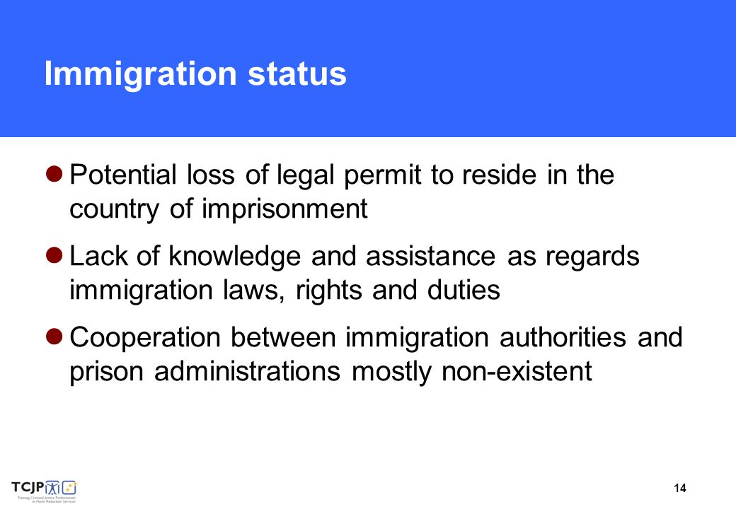 14 Immigration status Potential loss of legal permit to reside in the country of imprisonment Lack of knowledge and assistance as regards immigration