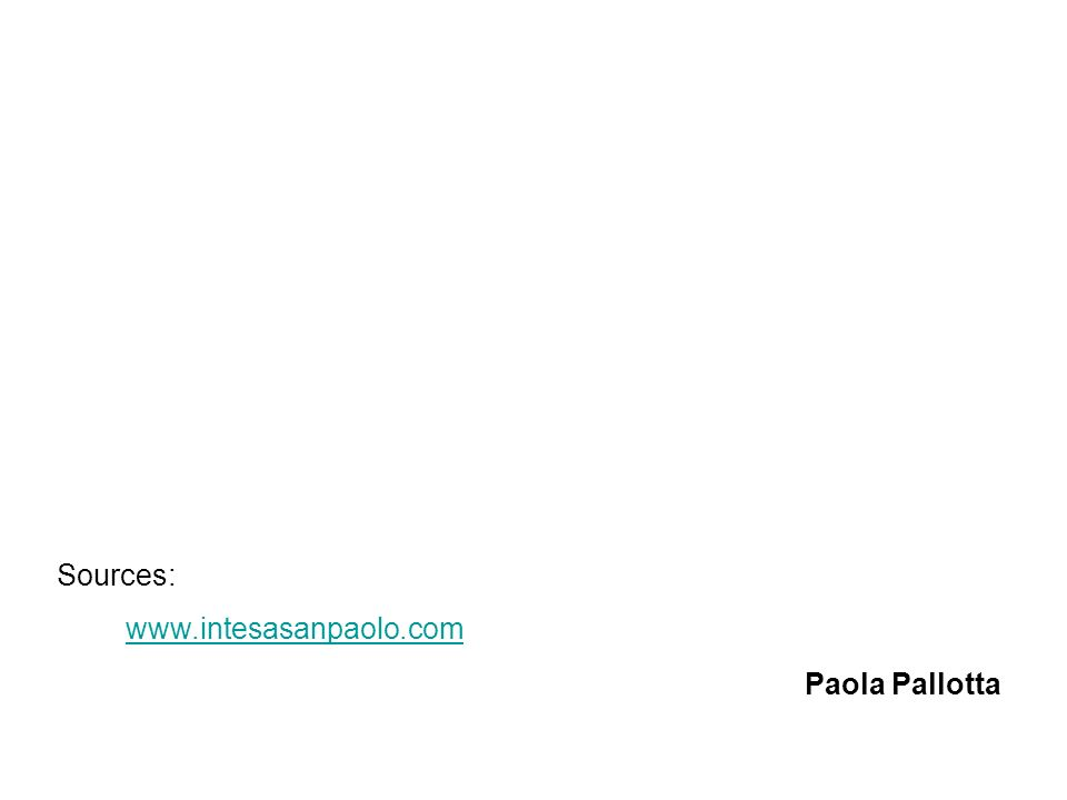 Sources: www.intesasanpaolo.com Paola Pallotta