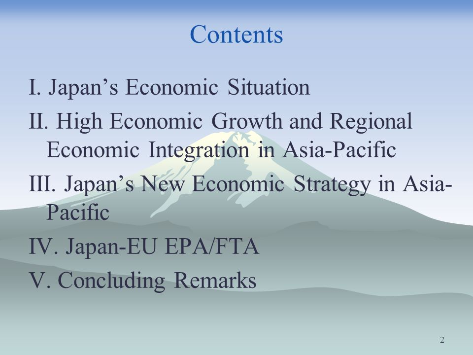 Contents I. Japans Economic Situation II. High Economic Growth and Regional Economic Integration in Asia-Pacific III. Japans New Economic Strategy in