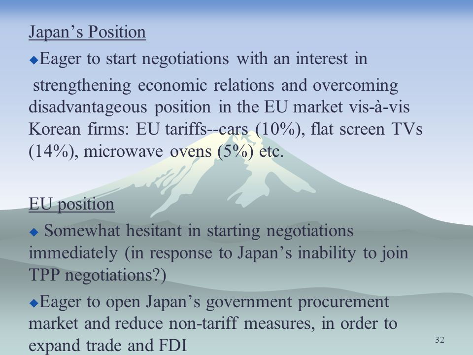 Japans Position Eager to start negotiations with an interest in strengthening economic relations and overcoming disadvantageous position in the EU mar