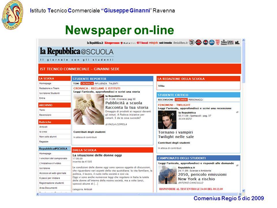 Istituto Tecnico Commerciale Giuseppe Ginanni Ravenna Comenius Regio 5 dic 2009 Newspaper on-line