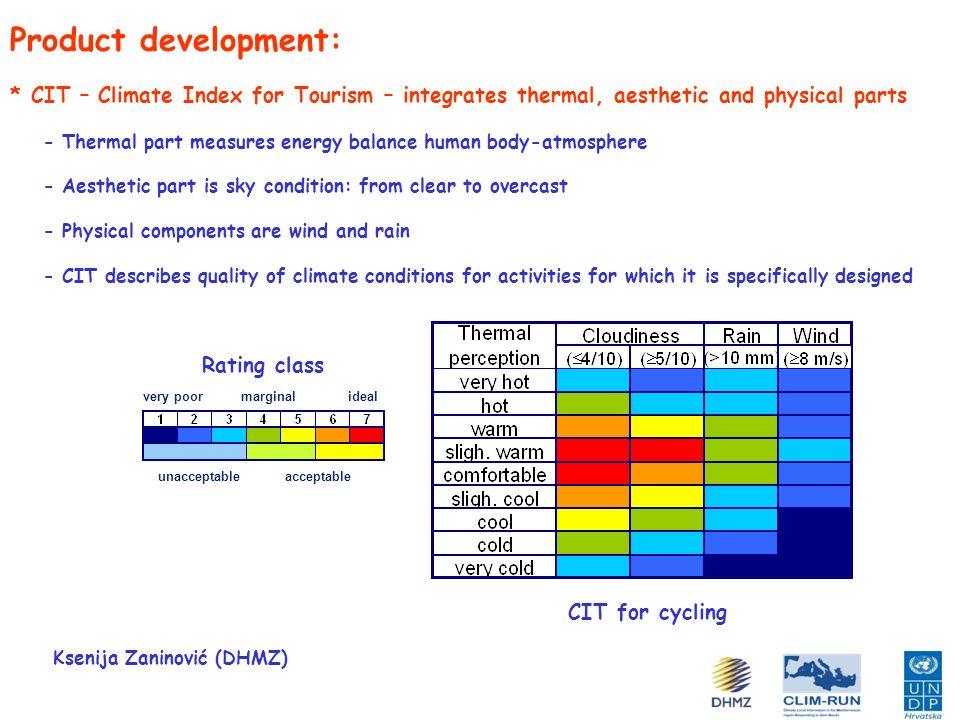 Product development: * Examples of CIT Ksenija Zaninović (DHMZ) One location – various activities One activity – various locations Rovinj Mali Lošinj Zadar Hvar Dubrovnik Beach tourism