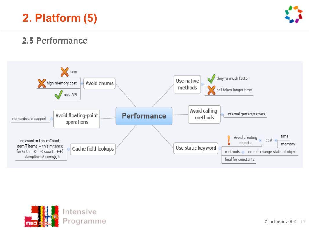 © artesis 2008 | 14 2.5 Performance 2. Platform (5)