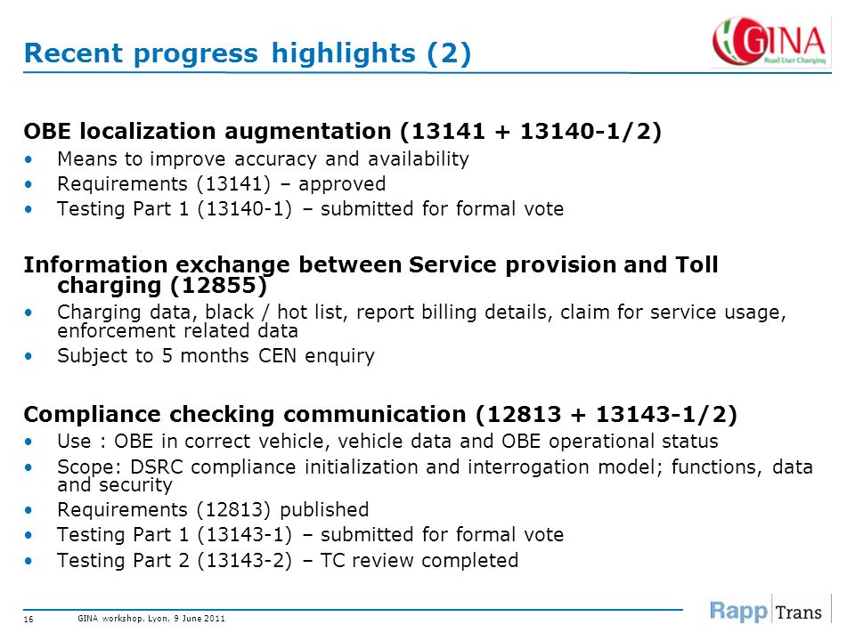 GINA workshop, Lyon, 9 June 2011 15 Recent progress highlights (1) Interoperable application profile (IAP) for CEN DSRC Testing standards (15876-1/2):