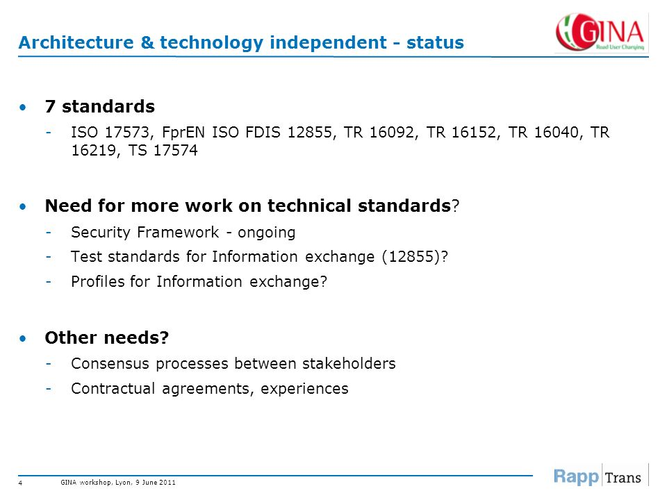 GINA workshop, Lyon, 9 June 2011 3 Overview – EFC related standards Architecture & technology independent System architecture, information exchange, s