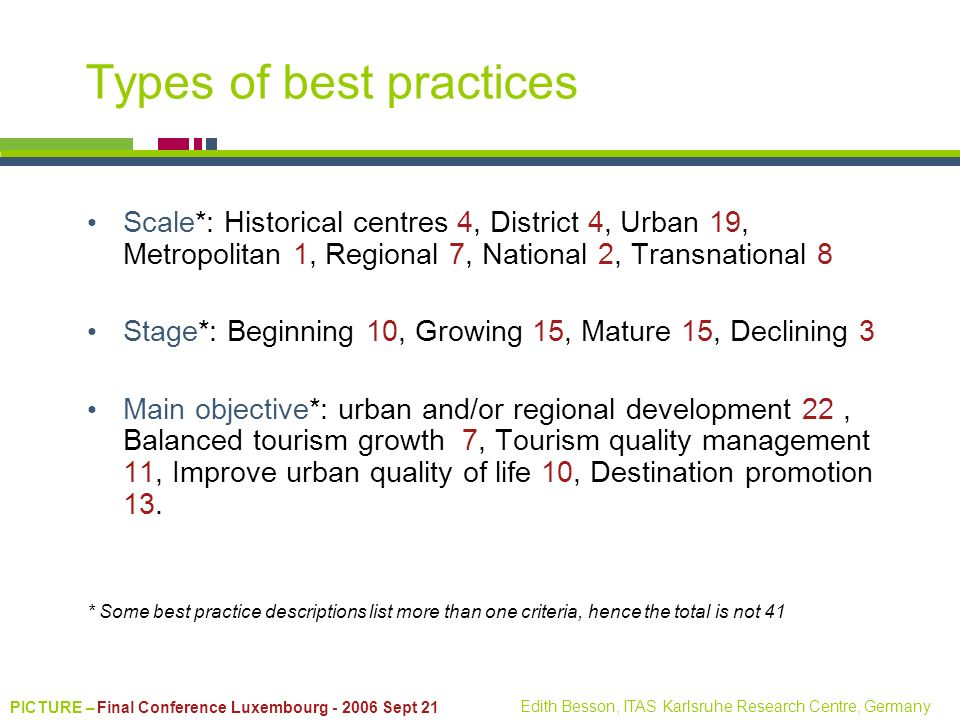 PICTURE – Final Conference Luxembourg - 2006 Sept 21 Edith Besson, ITAS Karlsruhe Research Centre, Germany Types of best practices Scale*: Historical