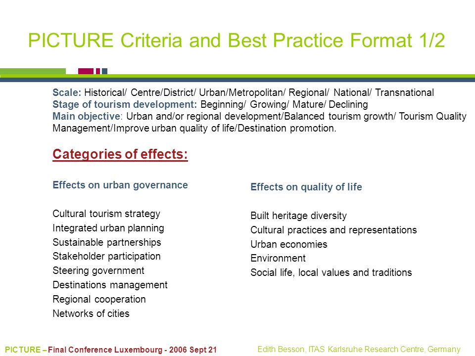 PICTURE – Final Conference Luxembourg - 2006 Sept 21 Edith Besson, ITAS Karlsruhe Research Centre, Germany PICTURE Criteria and Best Practice Format 1
