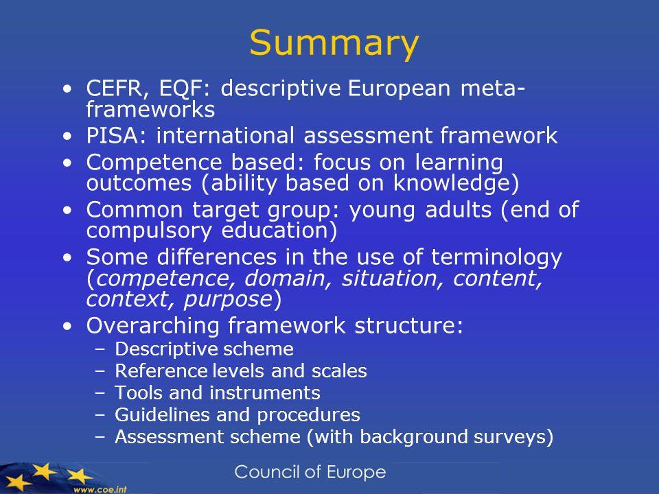 Summary CEFR, EQF: descriptive European meta- frameworks PISA: international assessment framework Competence based: focus on learning outcomes (abilit