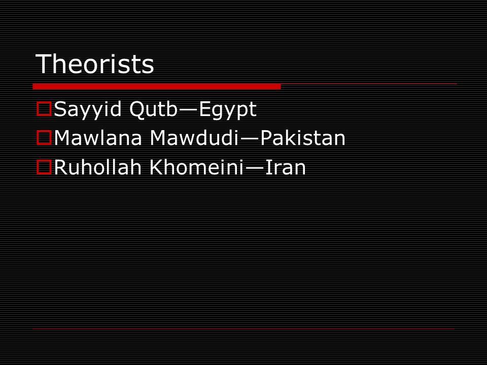 Theorists Sayyid QutbEgypt Mawlana MawdudiPakistan Ruhollah KhomeiniIran
