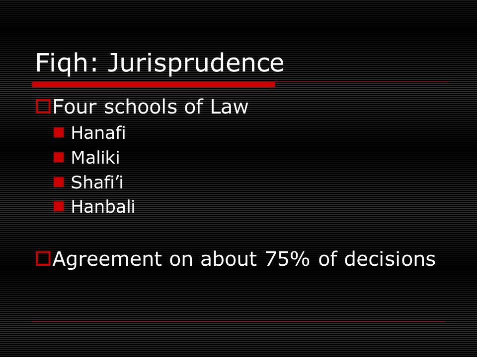 Fiqh: Jurisprudence Four schools of Law Hanafi Maliki Shafii Hanbali Agreement on about 75% of decisions