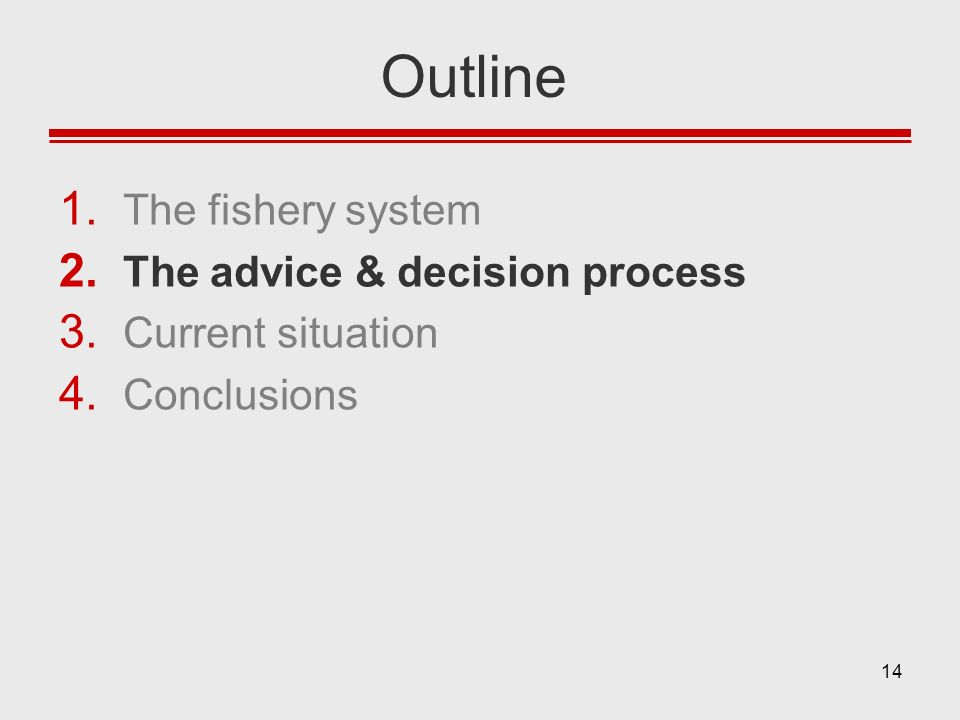 14 Outline 1. The fishery system 2. The advice & decision process 3. Current situation 4. Conclusions