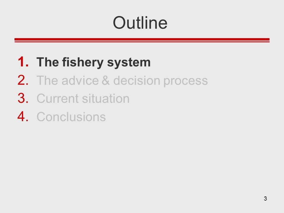 3 Outline 1. The fishery system 2. The advice & decision process 3. Current situation 4. Conclusions