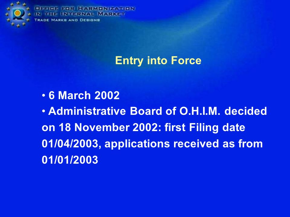 Entry into Force 6 March 2002 Administrative Board of O.H.I.M.