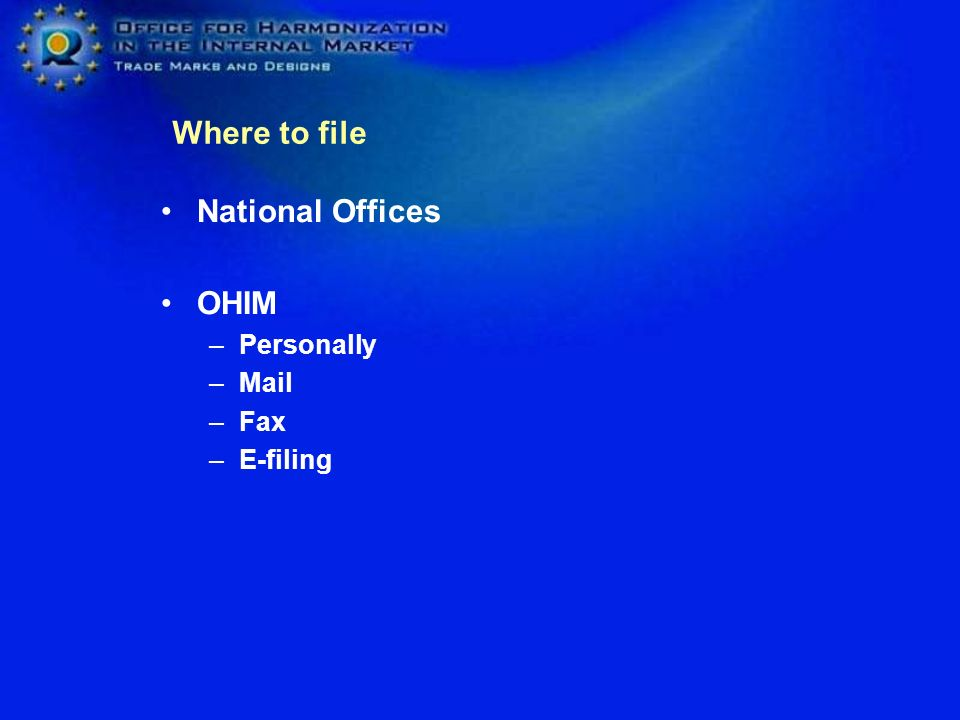 National Offices OHIM –Personally –Mail –Fax –E-filing Where to file