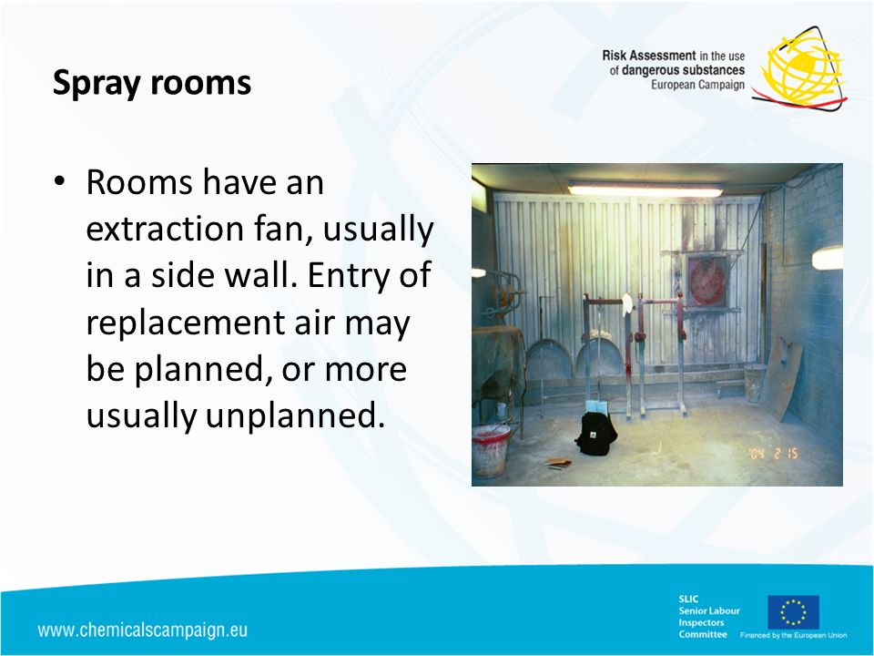 Spray rooms Rooms have an extraction fan, usually in a side wall. Entry of replacement air may be planned, or more usually unplanned.