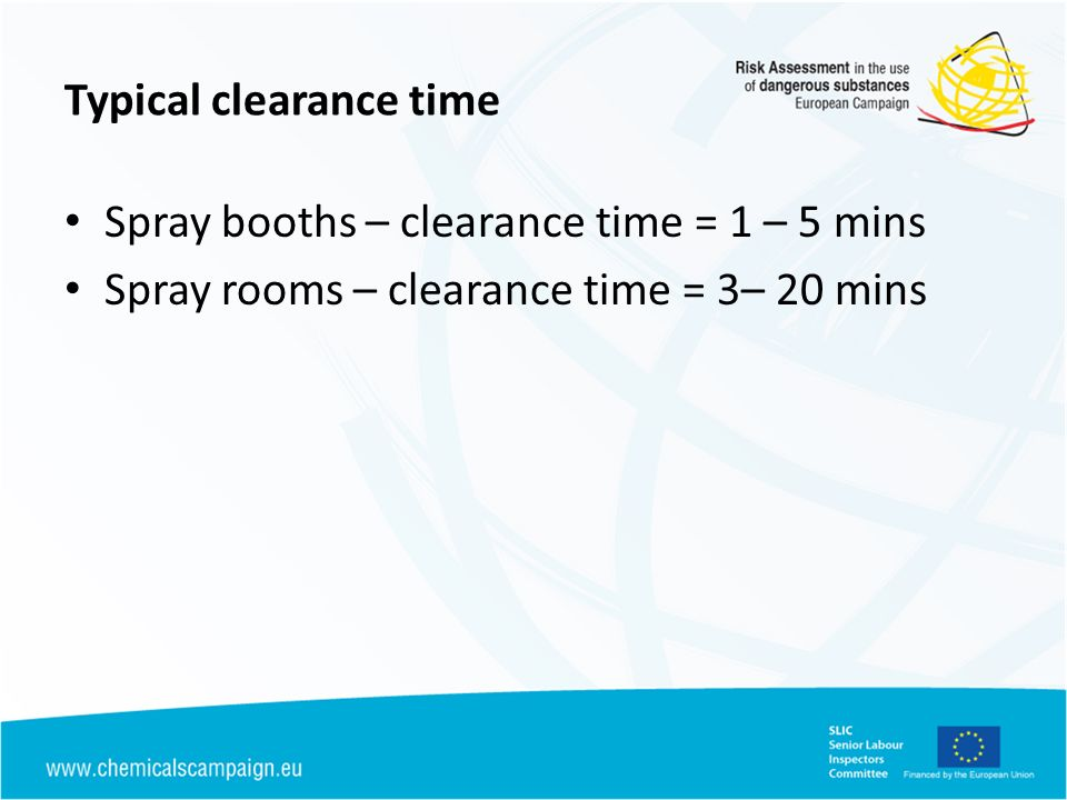 Typical clearance time Spray booths – clearance time = 1 – 5 mins Spray rooms – clearance time = 3– 20 mins