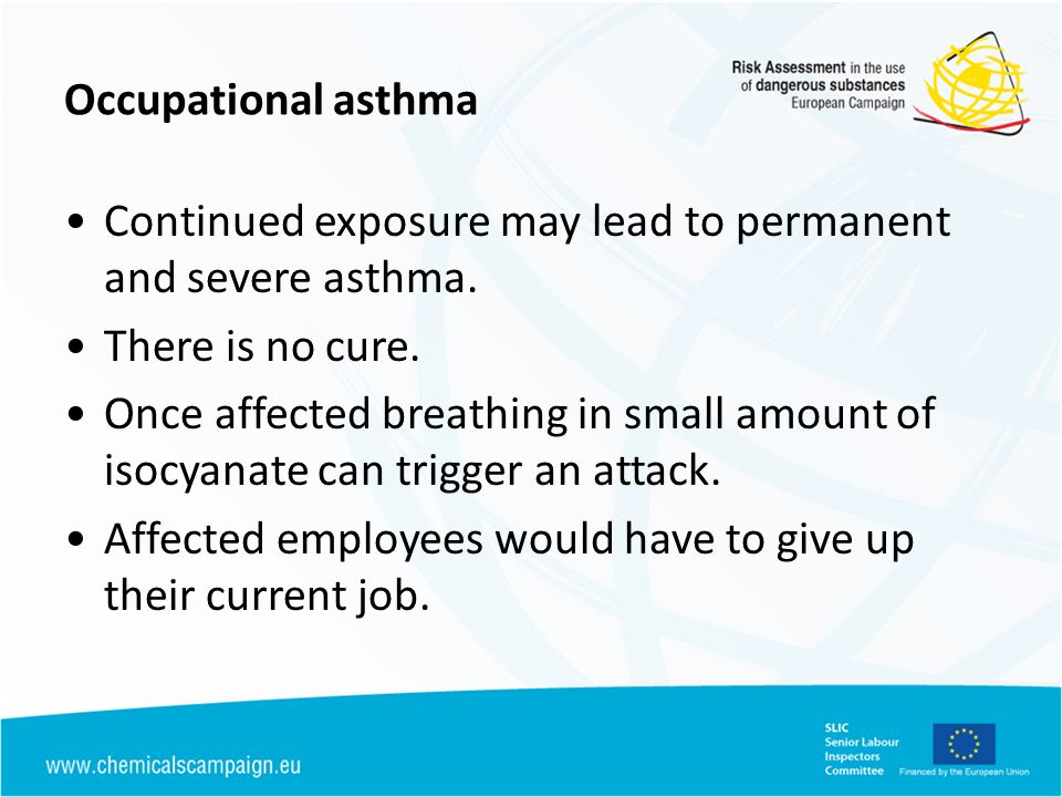 HSE Campaign 2004 - 08 Objective: to reduce incidence of occupational asthma in MVR by 20+% Strategy: Provide information on risks and controls to individual bodyshops Main activities: – half day workshops for bodyshop owners/managers and sprayers – communication through trade associations, magazines etc Based on evidence of effect, activity, cause and solutions