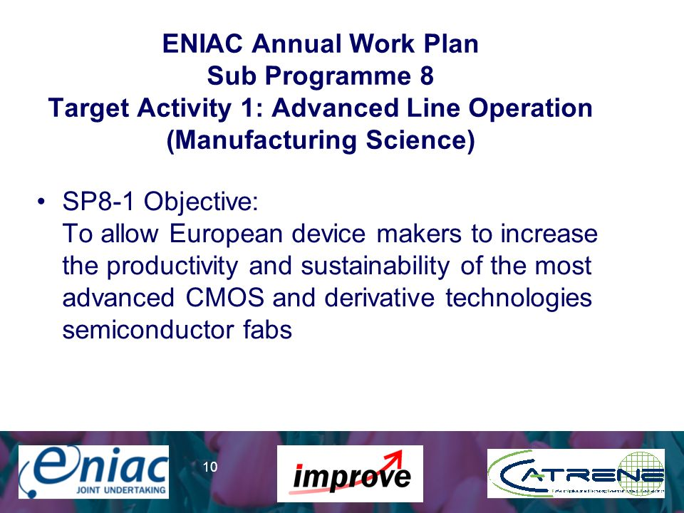 Presenter 10 ENIAC Annual Work Plan Sub Programme 8 Target Activity 1: Advanced Line Operation (Manufacturing Science) SP8-1 Objective: To allow Europ