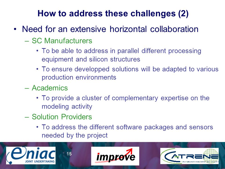 Presenter 15 How to address these challenges (2) Need for an extensive horizontal collaboration –SC Manufacturers To be able to address in parallel di