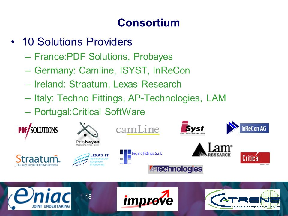 Presenter 18 Consortium 10 Solutions Providers –France:PDF Solutions, Probayes –Germany: Camline, ISYST, InReCon –Ireland: Straatum, Lexas Research –Italy: Techno Fittings, AP-Technologies, LAM –Portugal:Critical SoftWare