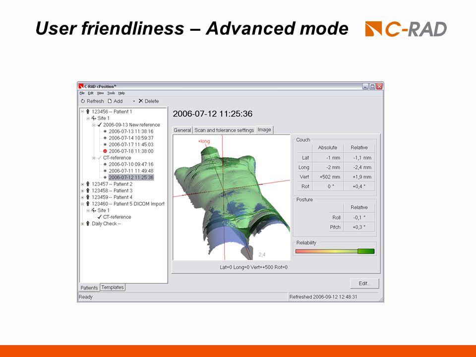 User friendliness – Advanced mode