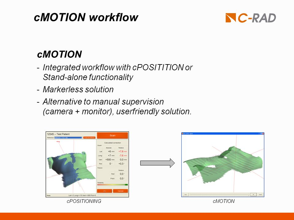 cMOTION workflow cMOTION -Integrated workflow with cPOSITITION or Stand-alone functionality -Markerless solution -Alternative to manual supervision (c