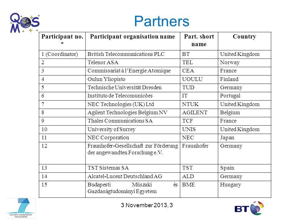 Partners 3 November 2013, 3 Participant no. * Participant organisation namePart. short name Country 1 (Coordinator)British Telecommunications PLCBTUni