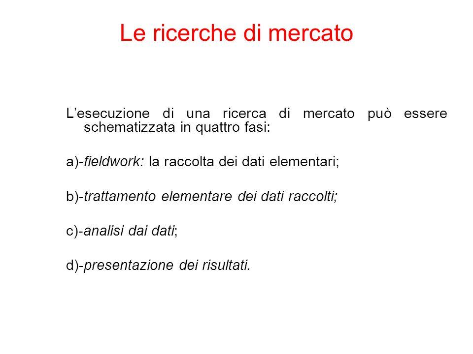 Lesecuzione di una ricerca di mercato può essere schematizzata in quattro fasi: a)-fieldwork: la raccolta dei dati elementari; b)-trattamento elementare dei dati raccolti; c)-analisi dai dati; d)-presentazione dei risultati.