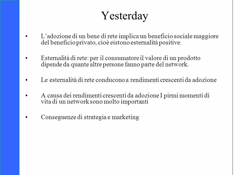 Copyright SDA Bocconi 2005 Competing Technologies, Network Externalities …n 2 Yesterday Ladozione di un bene di rete implica un beneficio sociale maggiore del beneficio privato, cioè eistono esternalità positive.